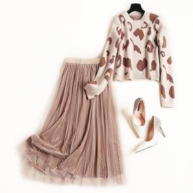 时尚套装2018冬季新款女装欧美气质通勤弹力针织衫网纱中长裙8777