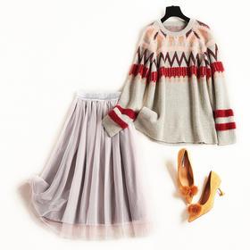 时尚套装2018冬季新款女装圆领仿水貂绒针织毛衣松紧腰网纱裙8686