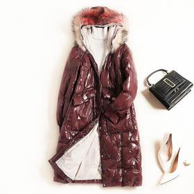 2018冬季新款女装可拆貉子毛领连帽白鸭绒羽绒服加厚漆皮外套8769