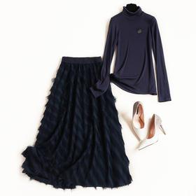 时尚套装2018冬季新款女装OL胸针高领针织衫提花流苏雪纺半裙8775