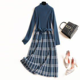 2018冬季新款女装连衣裙通勤弹力柔软针织上衣拼接格纹A字裙8699