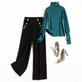 时尚套装2018冬季新款女装OL通勤高领灯笼袖针织衫毛呢阔腿裤8682