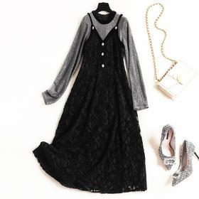 2018冬季时尚打底裙女装新款修身蕾丝两件套针织连衣裙中长款8617