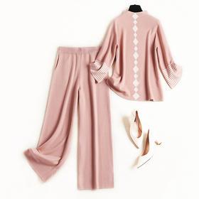 时尚套装2018冬季新款女装OL立领针织衫撞色竖纹阔腿裤两件套8640