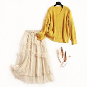 2018冬季新款网纱裙套装女时尚V领毛衣衫两件套打底裙中长款8676