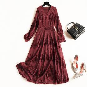 2018冬季新款女装高腰连衣裙暗纹花朵长裙欧美气质通勤蕾丝裙8690