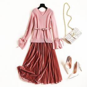 针织连衣裙2018冬季新款女装金丝绒百褶裙纯色两件套打底裙子8622