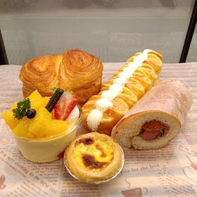 温馨面包套餐D 手撕面包+毛毛虫+香芒四溢+葡式蛋挞+罗曼卷