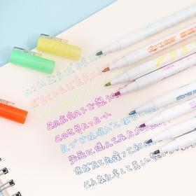 梦幻荧光双线笔学生荧光标记笔印章彩色记号笔重点标记笔