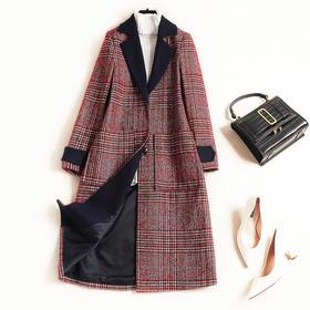 毛呢外套2018气质通勤冬季新款女装大衣翻驳领呢外套一件代发8838