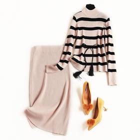 2018冬季时尚针织套装裙新款女装条纹针织衫修身打底裙两件套8782