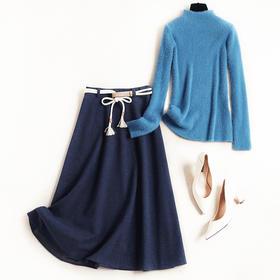 2018时尚毛呢裙套装女装新款仿水貂绒针织衫打底中长裙两件套8661