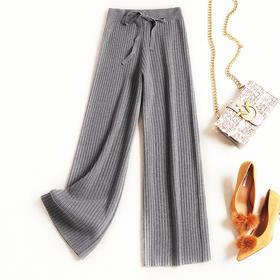 2018冬季新款休闲裤女装时尚纯色高腰长裤显瘦系带针织阔腿裤C889