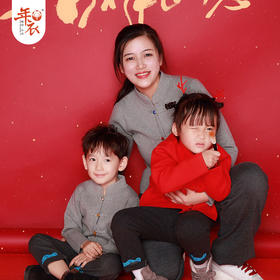 预售 1月16日发货  年衣 生肖猪年喜-春禧福到对襟毛衣儿童中式外套新年拜年衣服