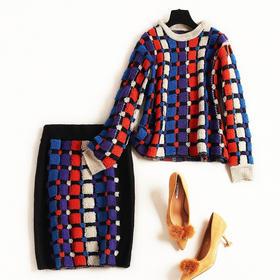 时尚套装2018冬季新款气质通勤女装长袖针织衫撞色格纹裙套装8791