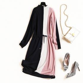 2018冬季新款OL气质通勤女装连衣裙纯色立领针织裙开叉中长裙8834