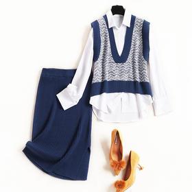 时尚套装2018冬季新款OL气质通勤女装翻领衬衫无袖马甲包臀裙8663