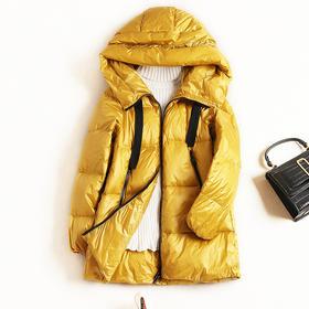 羽绒服女装2018冬季新款欧美气质通勤连帽白鸭绒外套一件代发8828