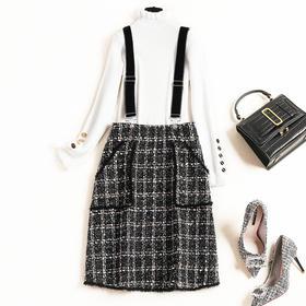 2018冬季新款气质通勤女装连衣裙兔毛半高领针织衫外搭背带裙8790