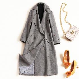 毛呢外套2018冬季新款OL气质通勤女装翻领开叉呢大衣一件代发8807