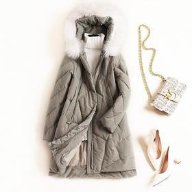 羽绒服女装2018冬季新款气质通勤貉子毛领白鸭绒外套一件代发8829