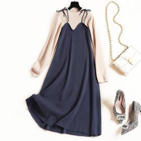 2018冬季新款OL气质通勤女装连衣裙假两件高腰针织裙一件代发C899