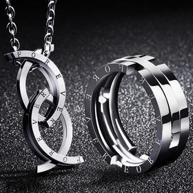 【风靡抖音】亲嘴鱼创意变形戒指 可折叠戒指项链 表白情人节礼物 礼盒装