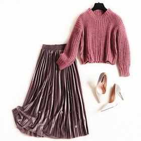 时尚套装2018冬季气质通勤女装罗纹毛衣针织衫金丝绒百褶半裙C895