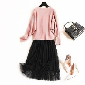 时尚套装2018冬季新款OL气质通勤女装不规则针织衫无袖网纱裙C897