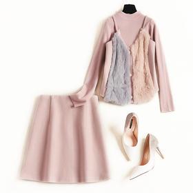 2018冬季时尚裙套装新款欧美针织衫女兔毛拼接打底短裙三件套8821