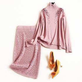 欧美风2018冬季新款女装针织弹力拼接钉珠纯色中长款时尚套装8849