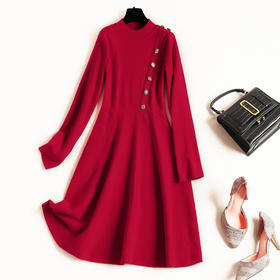 2018冬季新款欧美女装圆领拼接纯色中长款高腰针织修身连衣裙8843