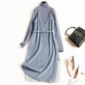 2018冬季新款女装仿水貂绒拼接堆堆领针织两件套中长款连衣裙8770