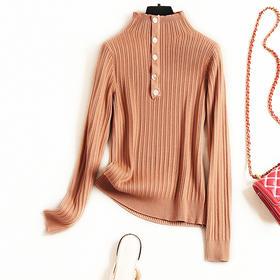 2018冬季新款OL气质通勤毛针织衫女装立领修身打底衫一件代发8719