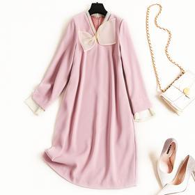 2018冬季新款气质通勤女装连衣裙纯色V领长袖雪纺裙一件代发8694