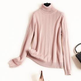 2018冬季新款OL气质通勤毛衣女装堆堆领弹力针织衫条纹打底衫8844