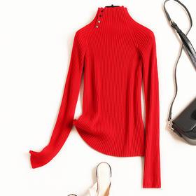 2018毛针织衫女装冬季新款气质通勤半高领修身打底衫一件代发8720