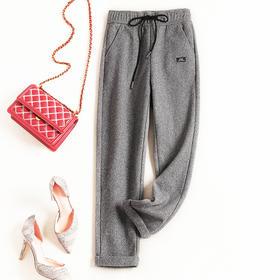 休闲裤女装2018冬季新款格纹松紧腰九分裤加绒保暖裤一件代发8762