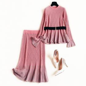 时尚套装2018冬季新款女装喇叭袖不规则针织衫条纹中长裙套装8819