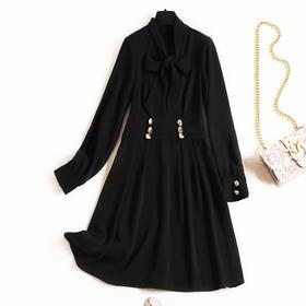 2018冬季新款通勤气质女装连衣裙纯色立领高腰雪纺裙一件代发8708
