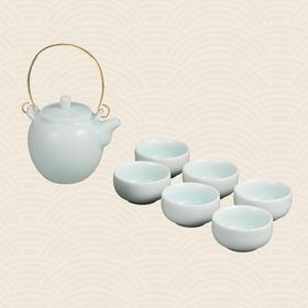 故宫博物院 影青釉铜柄提梁壶茶具 (1壶6杯)