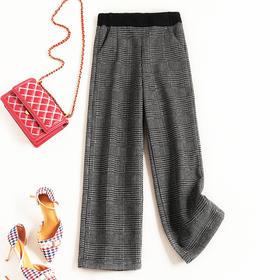 2018冬季新款OL气质通勤女装休闲裤松紧腰撞色格纹加绒暖暖裤8794