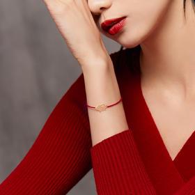 金猪纳福系列首饰套装 猪年红绳手链 18k金纯手工非遗花丝镶嵌工艺