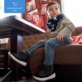 小蓝羊 儿童冬款毛呢加绒保暖棉鞋