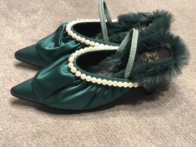 SUECOMMA BONNIE 荷叶边珍珠高跟鞋