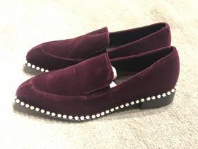 SUECOMMA BONNIE 珍珠镶嵌丝绒乐福鞋