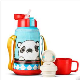 韩国Beddybear杯具熊(蓝熊猫)保温杯带吸管防漏600ml