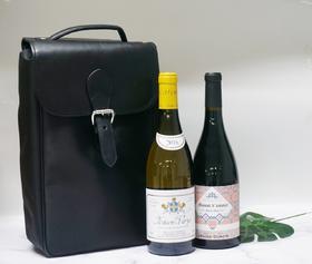 皮革带拉链葡萄酒携带包