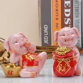 创意中式客厅酒柜玄关家居装饰品摆件现代简约招财猪开业乔迁礼物