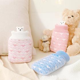 【冷热两用,可微波炉加热】硅胶卡通毛绒注水热水袋 迷你暖手宝暖水袋暖宫暖手袋